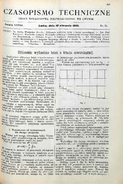 Czasopismo Techniczne 1910 nr 15