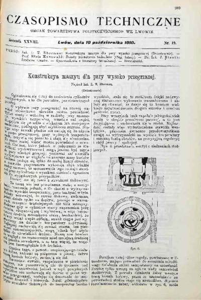 Czasopismo Techniczne 1910 nr 19