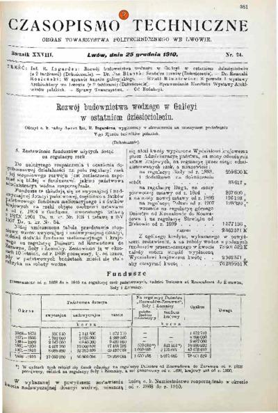 Czasopismo Techniczne 1910 nr 24