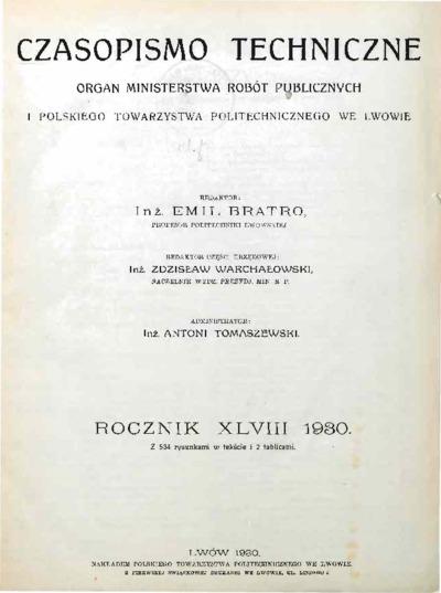 Czasopismo Techniczne 1930 Spis Rzeczy