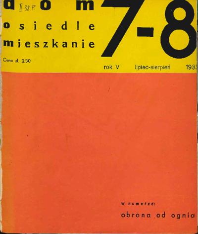Dom, Osiedle, Mieszkanie 1933 lipiec - sierpień