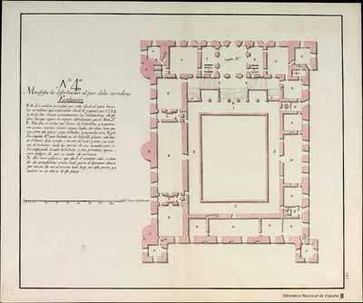 [PLANOS QUE MANIFIESTAN EL ESTADO en que se halla el Alcazar de Toledo ...],. Nº 4º., Distribución al piso de los corredores del Alcázar de Toledo [Material gráfico]