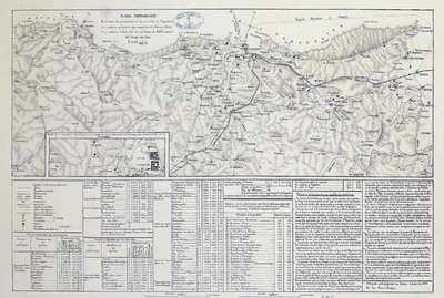 Plano topográfico de la línea de operaciones en la provincia de Guipuzcoa con todas las posiciones que ocupaban las fuerzas liberales y carlistas a fines del mes de Enero de 1876 tomado del campo Carlista [Material cartográfico]