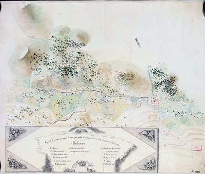 Croquis de las posiciones que ocuparon las tropas, para proteger la recoleccion de Granos el dia diez y nuebe de Julio de 1838 [Material cartográfico]