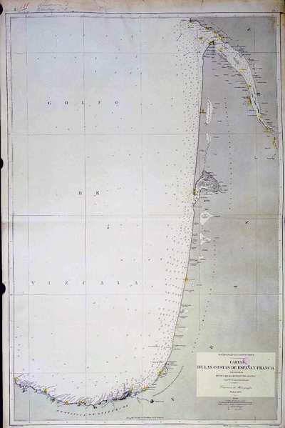 Carta de las costas de España y Francia. H. 136A :comprendidas entre cabo Machichaco y rio Gironda segun los trabajos mas recientes [Material cartográfico]