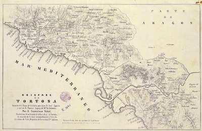 Obispado de Tortosa [Material cartográfico] : sacado del mapa de Cataluña que hizo D. José Aparici, y del de D. Tomás Lopez del Rno. de Valencia