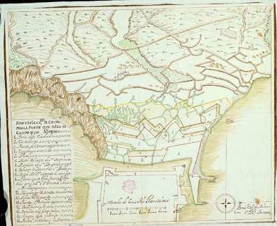 Fortificazon. de Zeuta por la parte que mira al Campo del os Moros [Material cartográfico]