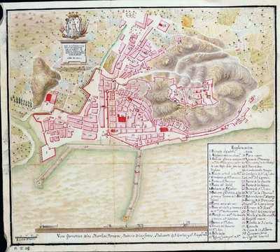 Plan de la ciudad y castillo de Alicante con su puerto baterías y demas fortificaciones de este puerto. [Material cartográfico]