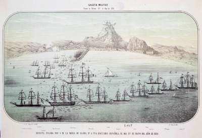 Puerto de Alicante [Material cartográfico] : Revista pasada por S.M. la Reina Dª Isabel 2ª a una escuadra española el día 27 de mayo del año de 1858