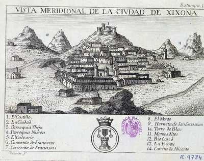 Vista meridional de la ciudad de Xixona [Material cartográfico]