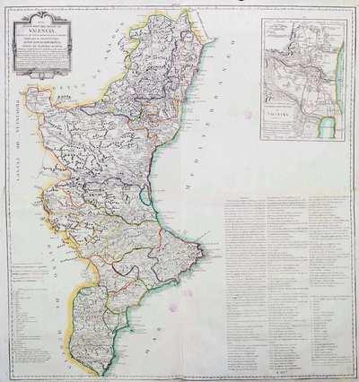 Mapa Geográfico del Reyno de Valencia  Dividido en sus trece Gobernaciones ó Partidos