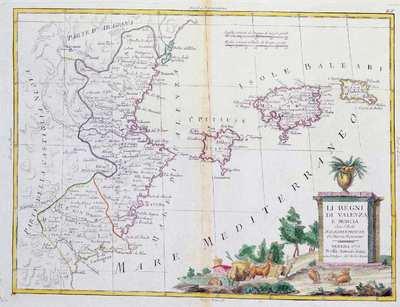 Li Regni di Valenza e Murcia [Material cartográfico] : Con l'Isole Baleari e Pitiuse: Di Nuova Projezione