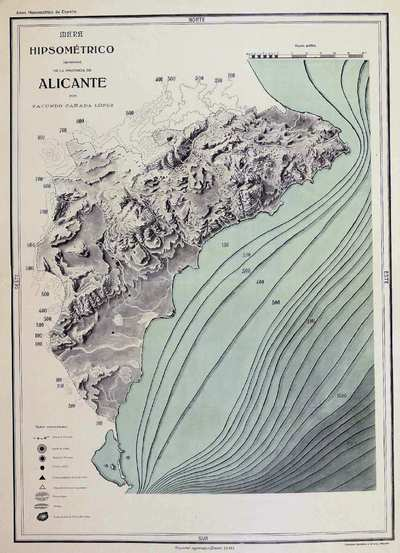 Mapa Hipsométrico (aproximado) de la provincia de Alicante [Material cartográfico]