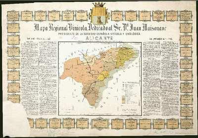 Mapa Regional Vinícola [Material cartográfico] : Dedicado al Sr. Dn. Juan Maisonave... : Alicante : comprende esta provincia y parte de la de Murcia hasta Yecla y Jumilla