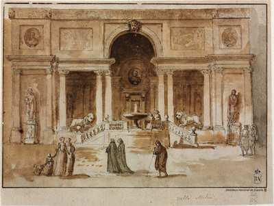 [Vista de la loggia de Villa Medici en Roma] [Material grafico]