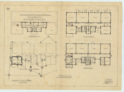 Bouwtekening revisie. Plattegrond begane grond en 1e en 2e verdieping, riolering en fundering