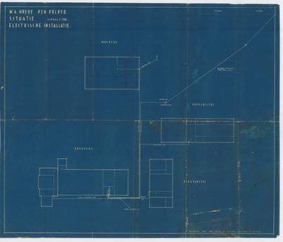 Technische tekening. Electrische installatie boerderij en andere gebouwen