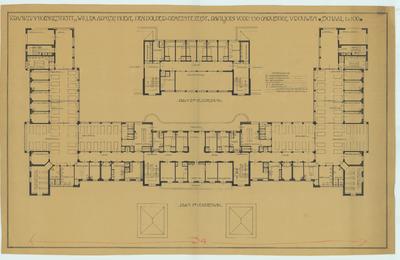 Bouwtekening revisie. Plattegrond begane grond 1e en 2e verdieping