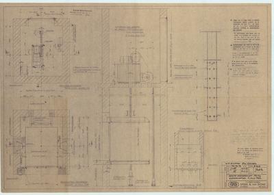 Technische tekening. Plattegrond en doorsneden machinekamer voor goederenlift