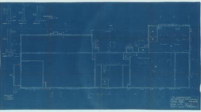 Bouwtekening. Kelder, riolering en fundering voor juli 1935
