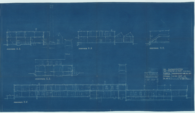 Bouwtekening. Fabriek doorsneden voor juli 1935