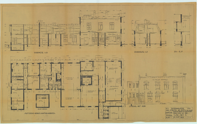 Bouwtekening. Beganegrond en doorsneden zoals voor juli 1935