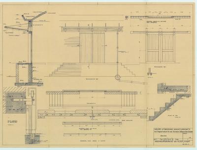 Bouwtekening. Uitbreiding magazijnruimte detailtekening roldeuren en afdak boven laadruimte