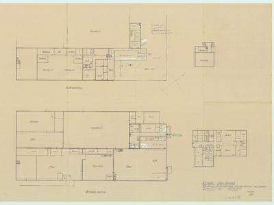 Bouwtekening. Plattegrond fabriek en kantoor 1e en 2e verdieping