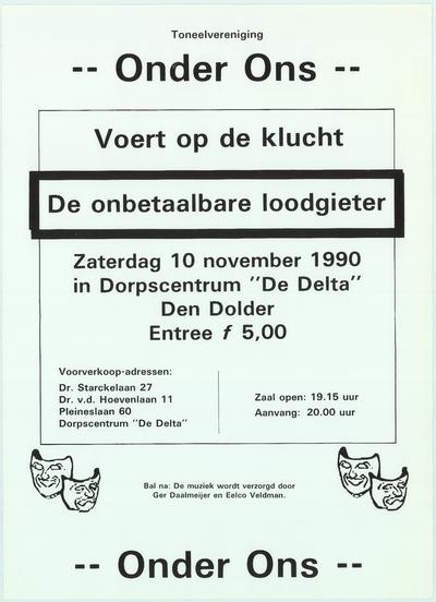 Affiches. Toneeluitvoering zaterdag 10 november 1990