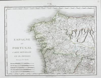 Espagne et Portugal [Material cartográfico]: Carte detaillée en IX. feuilles