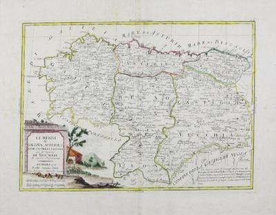 Li Regni di Galizia, Asturies, Leon, Castiglia Vecchia con la Signoria di Biscaglia di nuova Projezione [Material cartográfico]