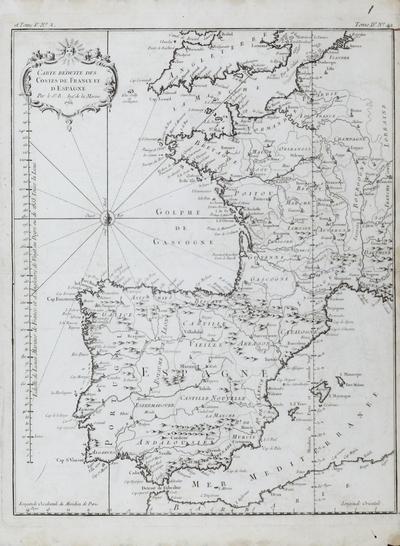 Carte réduite des Costes de France et d´Espagne [Material cartográfico] ]