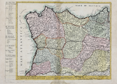 La Castiglia, il Regno di Leione, La Galitia, Asturia, La Biscaya [Material cartográfico]