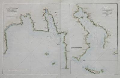 Plano de la Ria de Corcubión desde la Punta de Caldebarcos hasta el Cabo de Finisterre ... [Material cartográfico]; Plano de la Ría de Pontevedra con las Islas de Ons y Onza