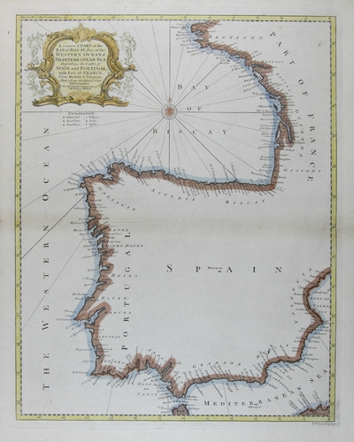 A correct chart of the Bay of Biscay, Part of the Western Ocean & Mediterranean Sea Describing the Coasts of Spain and Portugal, with a Part of France, From Morarlaix to Valencia : Done form the latest & best Discoveries, For Mr. Tindal's Continuation of Mr. Rapin´s History [material cartográfico]