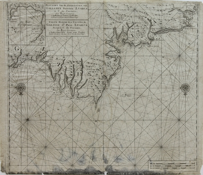 Pascaart van de Zeekusten, van Galissen Tusschen en C. de Coriano = Carte Mariné des Costes, de Galisse de Puis Luarca Jusqúà C. de Coriano [Material cartográfico]