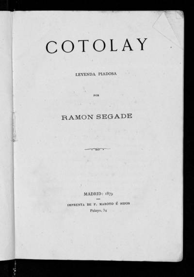 Cotolay : leyenda piadosa