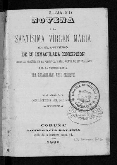 Novena a la Santísima Virgen María en el misterio de su Inmaculada Concepción, según se practica en la pontificia y real iglesia de los italianos