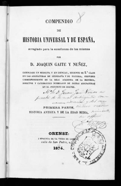 Compendio de historia universal y de España.