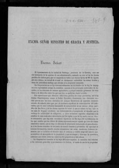[Exposición del Ayuntamiento de Santiago al Ministro de Gracia y Justicia pidiendo se suspenda la ley de 20 de agosto de 1873 por la que se declaran redimibles las rentas forales y otras de naturaleza análoga que afectan a la propiedad inmueble]