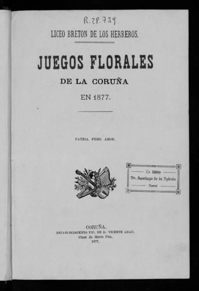 Juegos Florales de La Coruña en 1877.