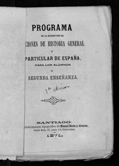 Programa de la asignatura de Nociones de Historia general y particular de España