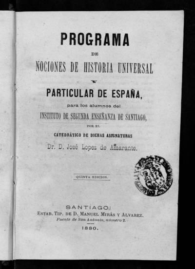 Programa de Nociones de Historia Universal y Particular de España