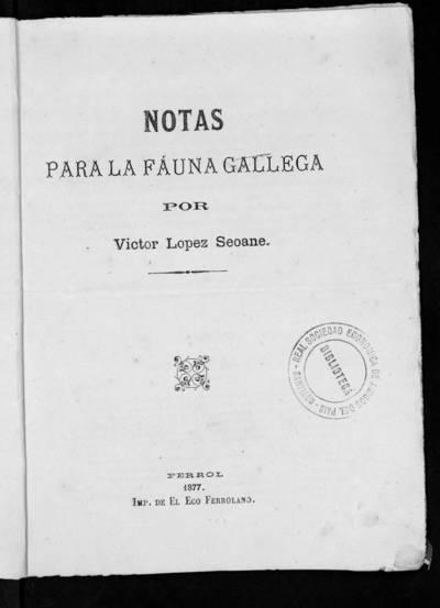 Notas para la fauna gallega