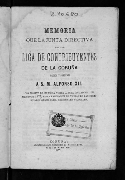 Memoria que la Junta Directiva presenta a s. M. Alfonso XII sobre exposición de varias de las necesidades generales, regionales y locales.