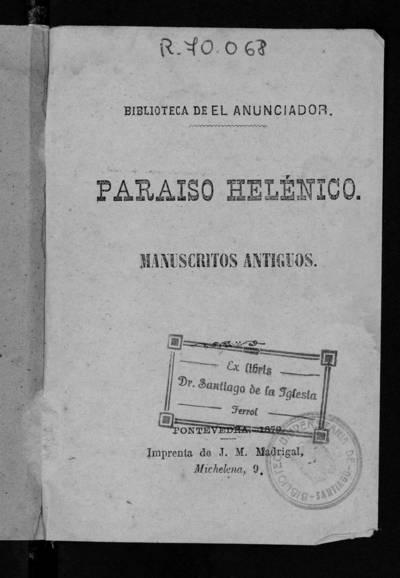 Paraíso helénico : Manuscritos antiguos.
