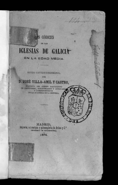 Los códices de las iglesias de Galicia en la Edad Media : estudio histórico-bibliográfico