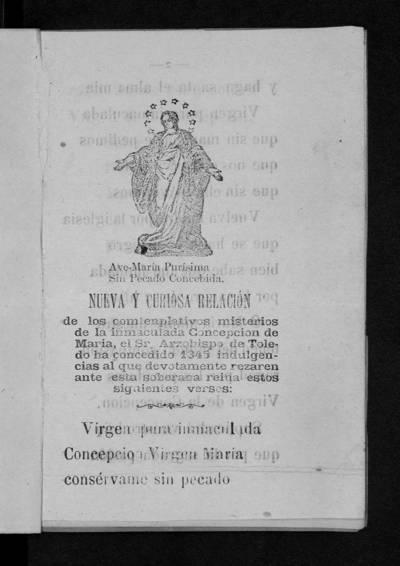 Nueva y curiosa relación de los comtenplativos [sic] misterios de la Inmaculada Concepción de María.