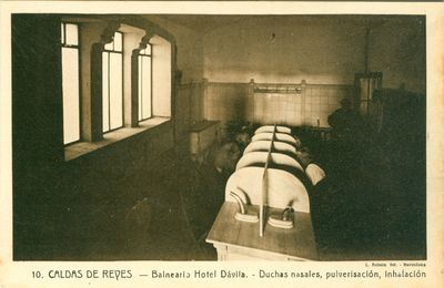 Caldas de Reyes. Balneario Hotel Dávila. Duchas nasales, pulverisación [sic], inhalación