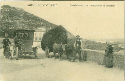 [Mondariz-Balneario]. Aguas de Mondariz. (Alrededores). Un contraste en la carretera